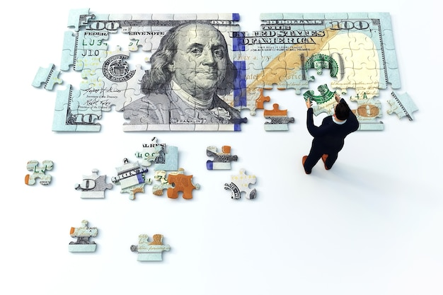 Illustrazione di un uomo che mette insieme i pezzi del puzzle del dollaro, rendring 3d