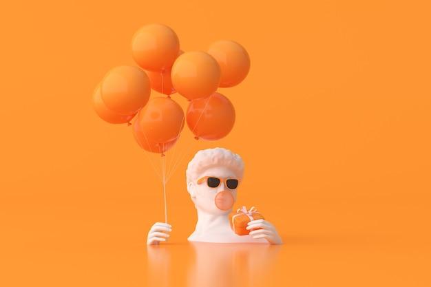 L'illustrazione della scultura dell'uomo con gli occhiali da sole sta tenendo palloncini e confezione regalo su sfondo arancione. rendering 3d.