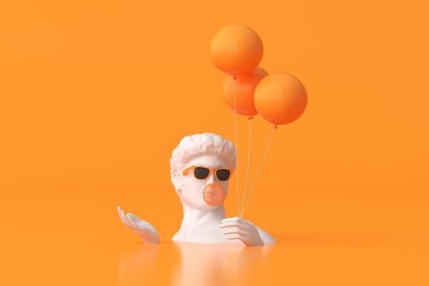 L'illustrazione della scultura dell'uomo con gli occhiali da sole sta tenendo i palloni su fondo arancione. rendering 3d.