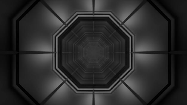 Illustrazione dell'ornamento monocromatico a forma di ottagono all'interno del tunnel futuristico simmetrico