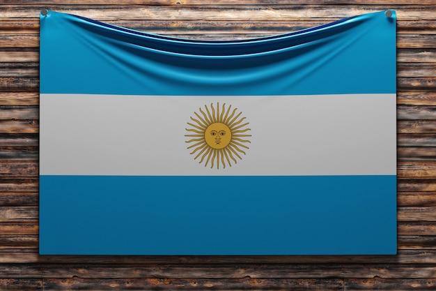 Illustrazione della bandiera nazionale del tessuto dell'argentina inchiodato su una parete di legno