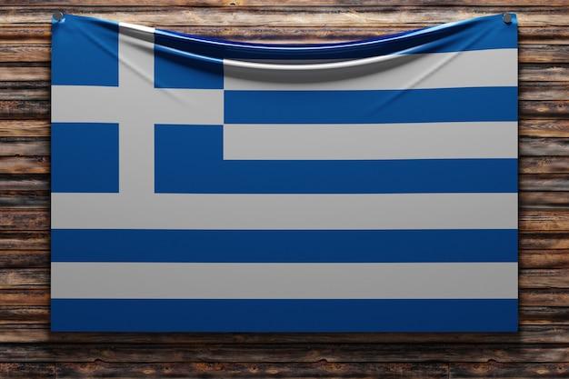 Illustrazione della bandiera nazionale del tessuto della grecia inchiodata su una parete di legno