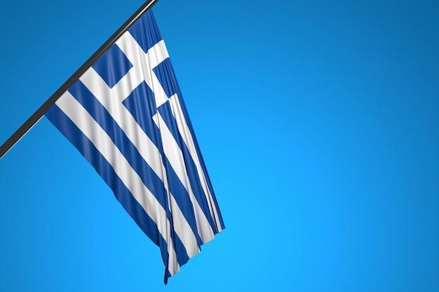 Illustrazione della bandiera nazionale della grecia su un pennone di metallo che fluttua contro il cielo blu