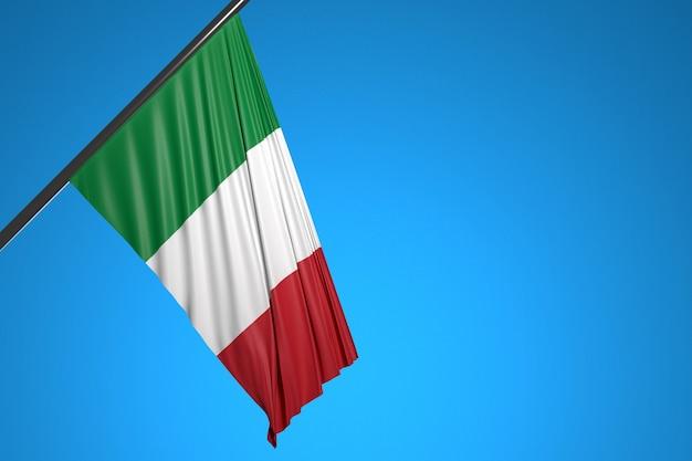 Illustrazione della bandiera nazionale d'italia su un pennone di metallo che fluttua contro il cielo blu