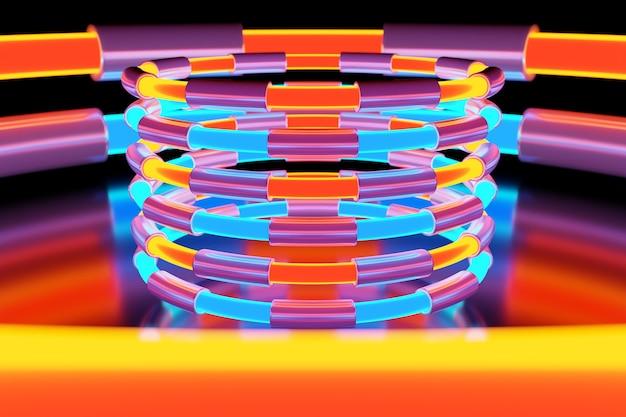Illustrazione di una palla colorata al neon brilla i suoi raggi in direzioni diverse su sfondo chiaro.