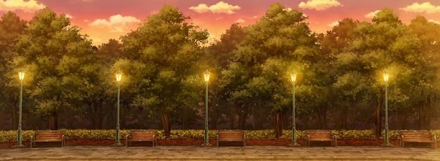 Parco dell'illustrazione della luce solare pomeridiana.