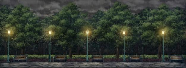 Illustrazione del parco con cielo piovoso.