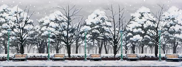 Illustrazione del parco con giornata invernale e neve che cade.