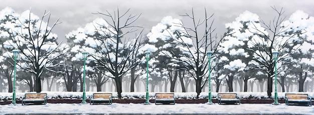Illustrazione del parco con giornata invernale.