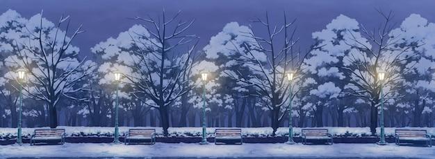 Illustrazione del parco con notte d'inverno.