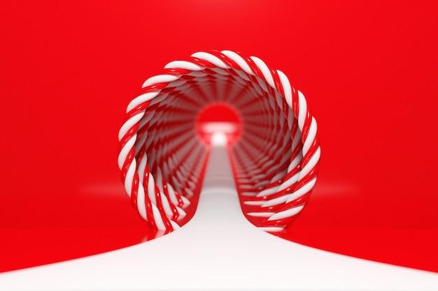 Illustrazione di un portale da un cerchio con spirale rossa e bianca