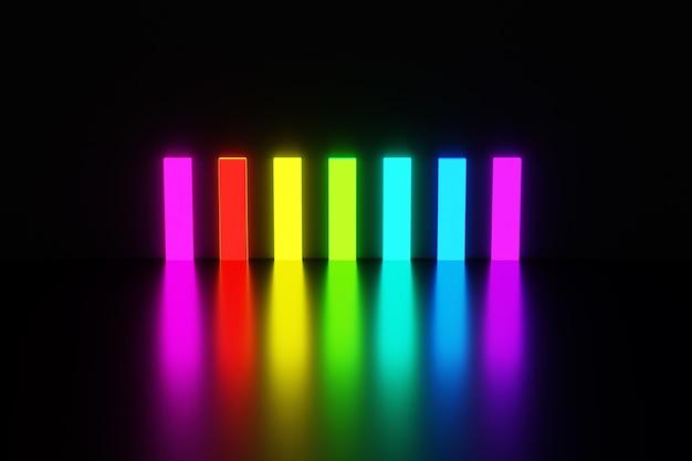 Illustrazione rettangoli dei colori dell'arcobaleno brillano di luce intensa e si riflettono sul pavimento su sfondo nero isolato.