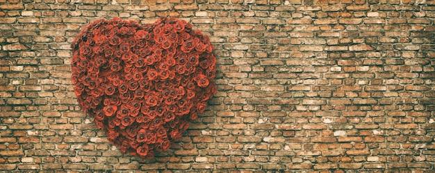 Illustrazione del cuore rosso sullo sfondo del muro di mattoni, rendering 3d