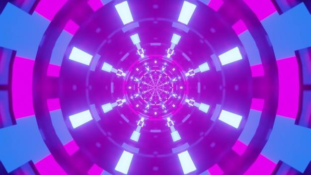 Illustrazione del tunnel viola simmetrico rotondo con lampade blu al neon incandescente