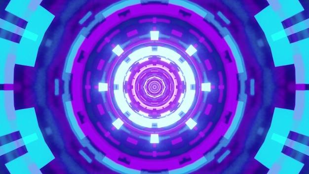 Illustrazione del tunnel simmetrico rotondo con ornamento geometrico astratto incandescente con luce blu e viola