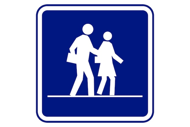 Illustrazione del segno di zona scuola su sfondo blu.