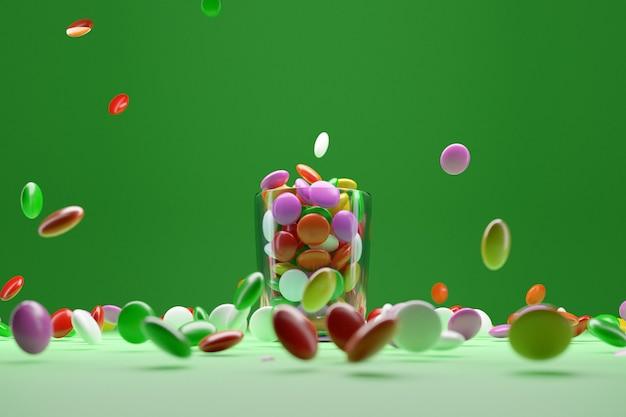 Illustrazione di piccole lastre di vetro con gomme da masticare colorate