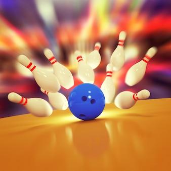 Illustrazione di birilli sparsi e palla da bowling sul pavimento in legno