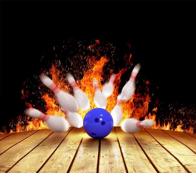 Illustrazione di birilli sparsi nel fuoco e palla da bowling sul pavimento di legno