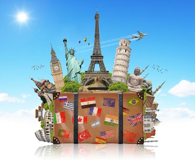 Illustrazione di una valigia piena di famoso monumento Foto Premium