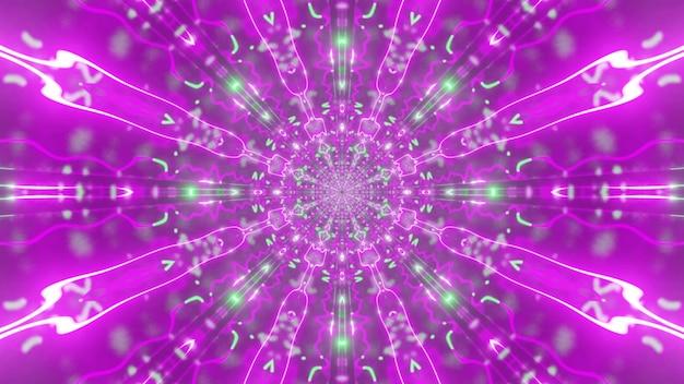 Illustrazione dell'ornamento caleidoscopico astratto simmetrico incandescente con luce al neon rosa vivida