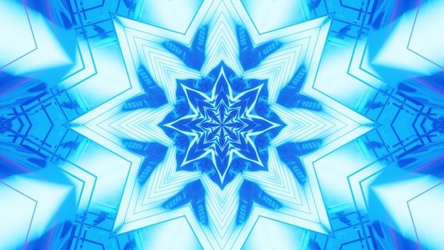 Illustrazione dell'ornamento astratto simmetrico incandescente con luce al neon blu vivida
