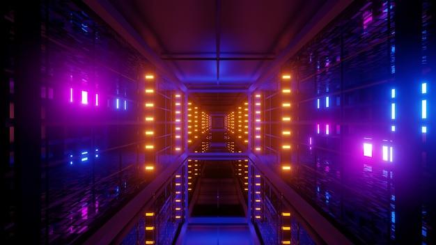 Illustrazione del corridoio futuristico simmetrico illuminato con vivaci lampade al neon multicolori