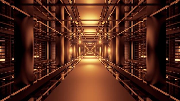 Illustrazione del passaggio futuristico simmetrico illuminato con luci al neon dorate