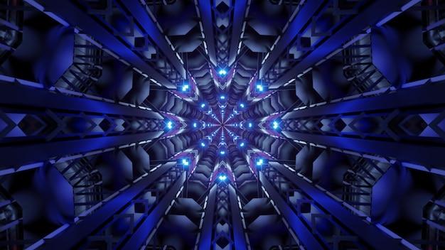 Illustrazione del tunnel caleidoscopico simmetrico che brilla di luce al neon blu brillante