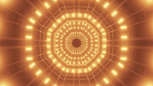 Illustrazione dell'ornamento simmetrico formato con scintillanti luci al neon dorate luminose