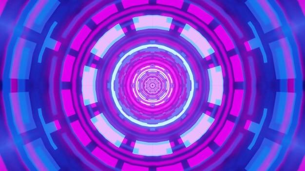 Illustrazione del tunnel rotondo simmetrico con luccicante ornamento geometrico al neon