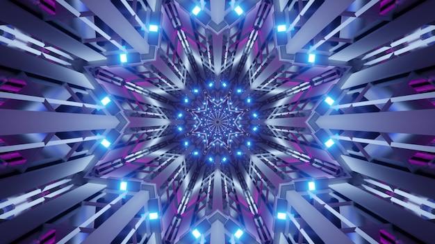 Illustrazione del tunnel simmetrico a forma di stella illuminato con luci al neon viola e blu luminose