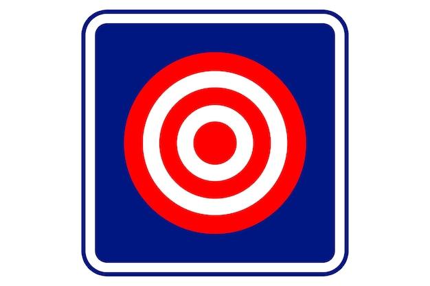 Illustrazione della scheda di tiro al bersaglio su sfondo blu