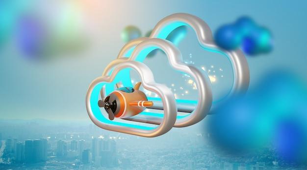 Illustrazione di un aereo giocattolo su una nuvola. rendering 3d