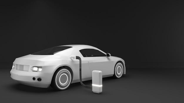 Illustrazione dell'uso delle auto elettriche nel futurole auto ev sono elettrichetecnologia di ricarica ev