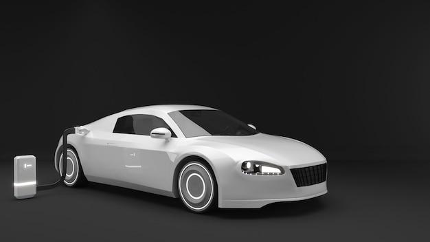 Illustrazione dell'uso delle auto elettriche nel futuroauto elettrichetecnologia di ricarica di veicoli elettrici