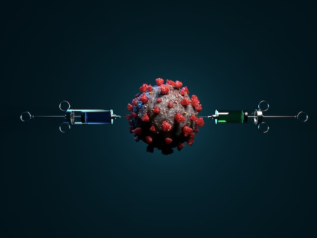 Illustrazione della vaccinazione contro il virus covid-19 su uno sfondo scuro. rendering 3d