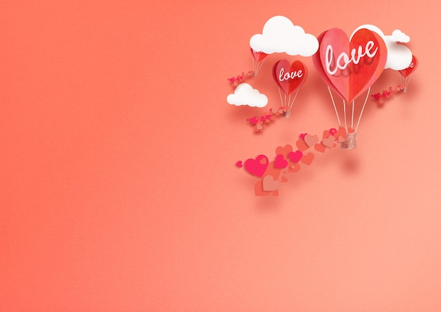 Illustrazione per san valentino. palloncini vivi a forma di cuore living coral volano tra le nuvole e lodano l'amore. concetto di amore pace e felicità.