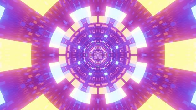 Illustrazione di vivaci luci al neon colorate che brillano all'interno del tunnel futuristico simmetrico con ornamento geometrico astratto