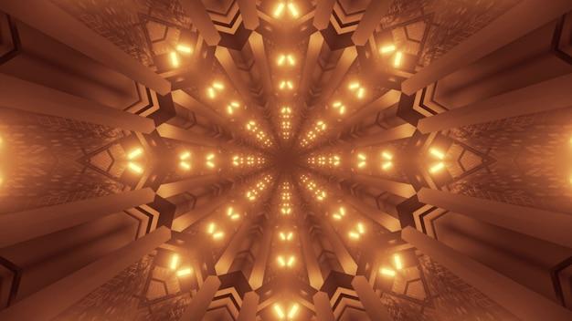 Illustrazione di vivaci luci al neon dorate che formano ornamento simmetrico astratto