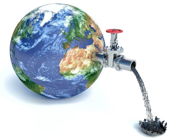 L'illustrazione del rubinetto di acqua ha montato sulla sgocciolatura realistica del pianeta terra con olio isolato