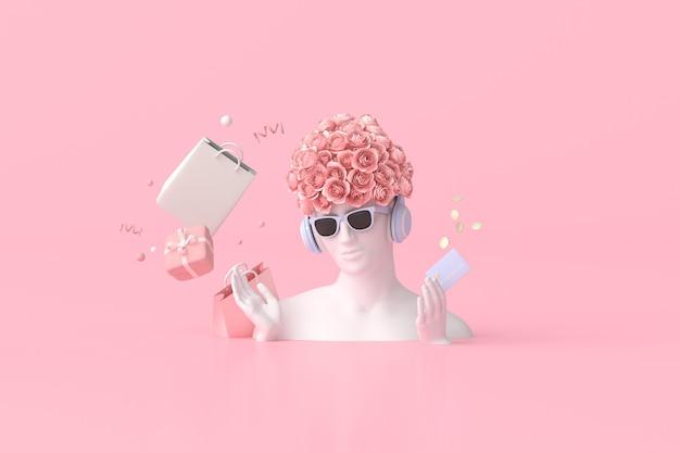 Illustrazione della scultura femminile con carta di credito, scatole regalo, monete, borse della spesa, rendering 3d.