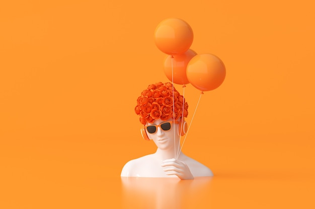 L'illustrazione della scultura delle donne con il fiore rosa sulla testa sta tenendo i palloni su fondo arancio. rendering 3d.