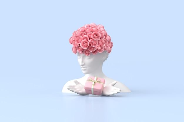 L'illustrazione della scultura delle donne con la rosa sulla testa sta tenendo una confezione regalo su sfondo blu. rendering 3d.