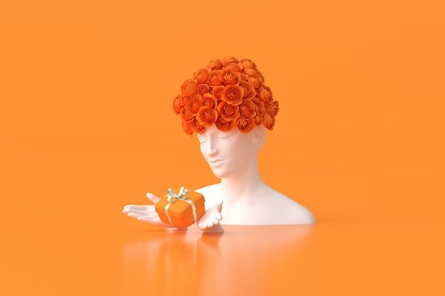 L'illustrazione della scultura delle donne con la rosa sulla testa sta tenendo una confezione regalo su sfondo arancione. rendering 3d.