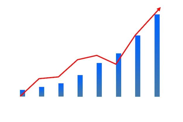 Immagine dell'icona del diagramma finanziario sul grafico con la freccia rossa cresciuta isolata su sfondo bianco