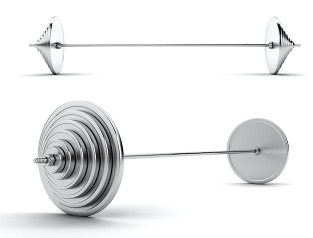 Immagine di un grande bilanciere di metallo pesante su uno sfondo bianco