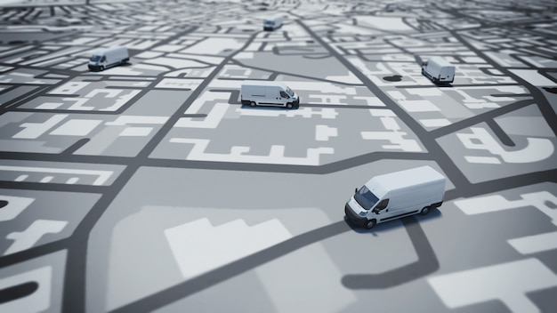 Immagine della mappa delle strade con i camion