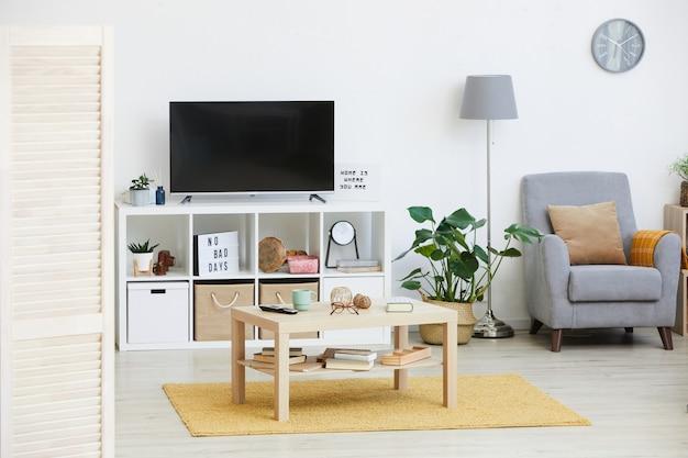 Immagine di mobili moderni e grande tv nella stanza domestica in appartamento
