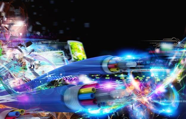 Immagine di fibre ottiche con codici binari. connessione internet con fibra